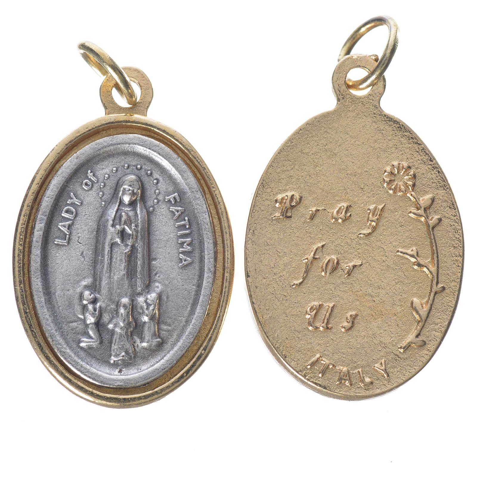 Medaglia Fatima metallo dorata argentata 2,5cm 4