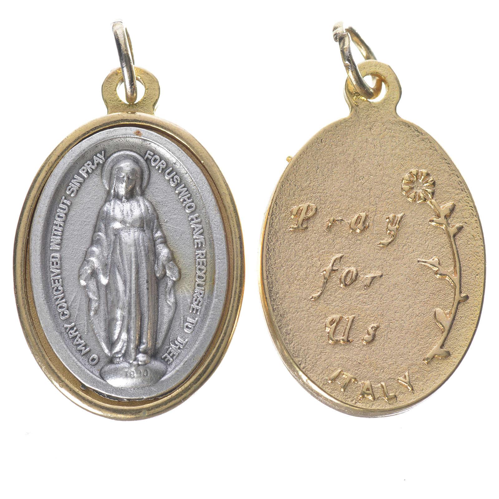 Medaglia Miracolosa metallo dorata argentata 2,5cm 4