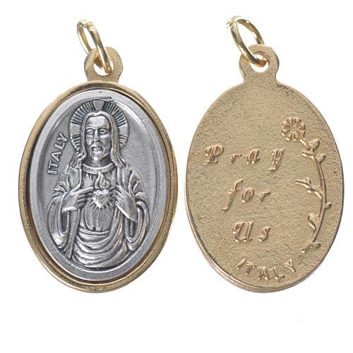 Medalha S. Coração Jesus metal dourado prateado 2,5 cm 1