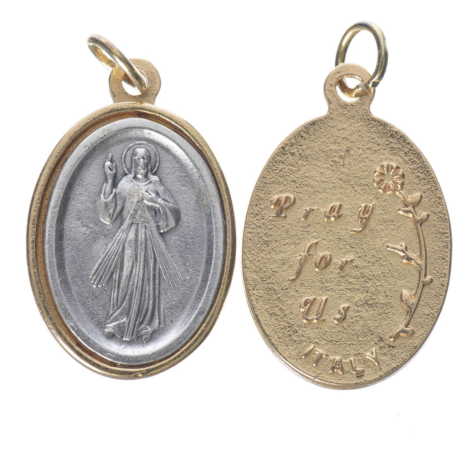 Medalla Jesús Misericordioso metal dorado plateado 2,5 cm 4