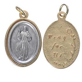 Medalla Jesús Misericordioso metal dorado plateado 2,5 cm s1