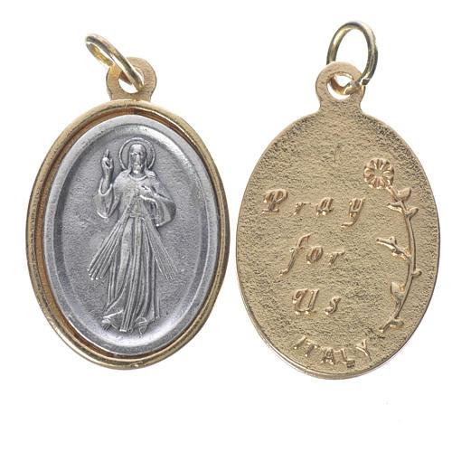 Medalla Jesús Misericordioso metal dorado plateado 2,5 cm 1
