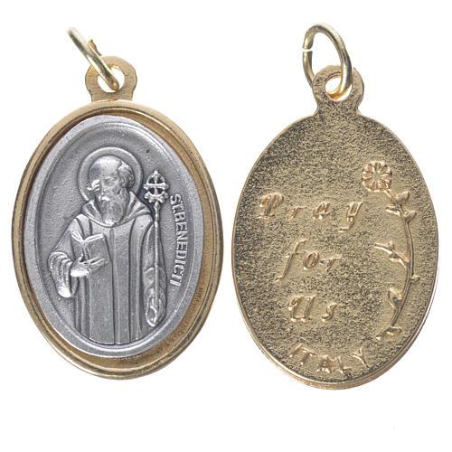 Medalla San Benito metal dorado plateado 2,5 cm 1