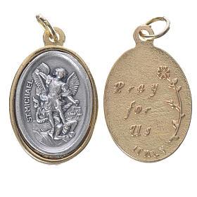 Médaille St Michel métal doré argenté 2,5cm s1