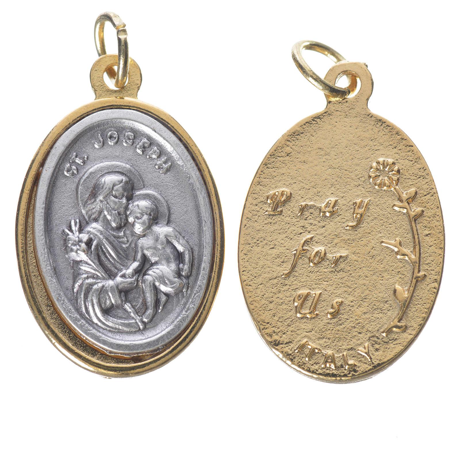 Medaglia S. Giuseppe metallo dorata argentata 2,5cm 4