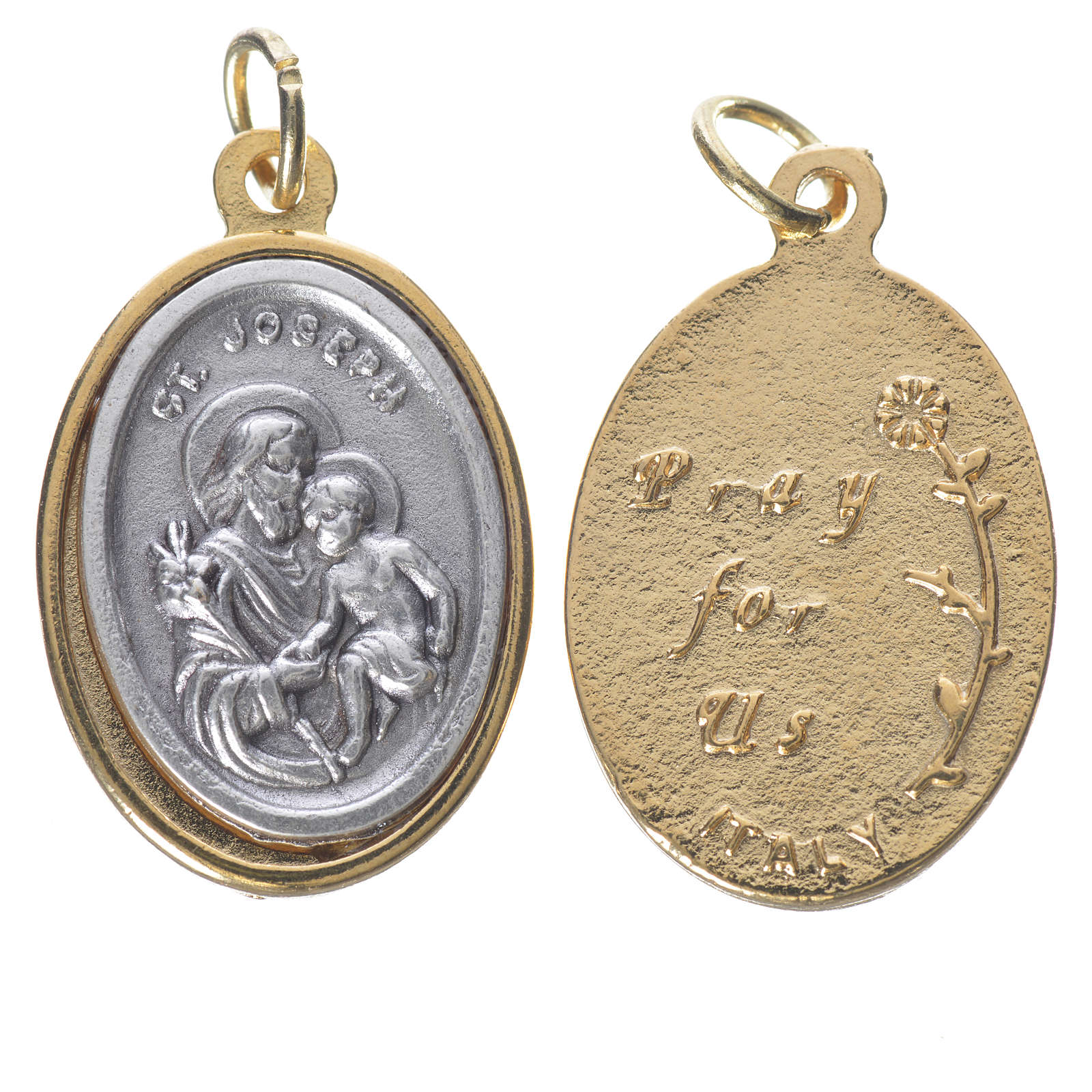 St Joseph with Baby Jesus, silver and golden medal 2.5cm 4