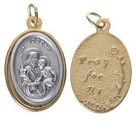 St Joseph with Baby Jesus, silver and golden medal 2.5cm s1