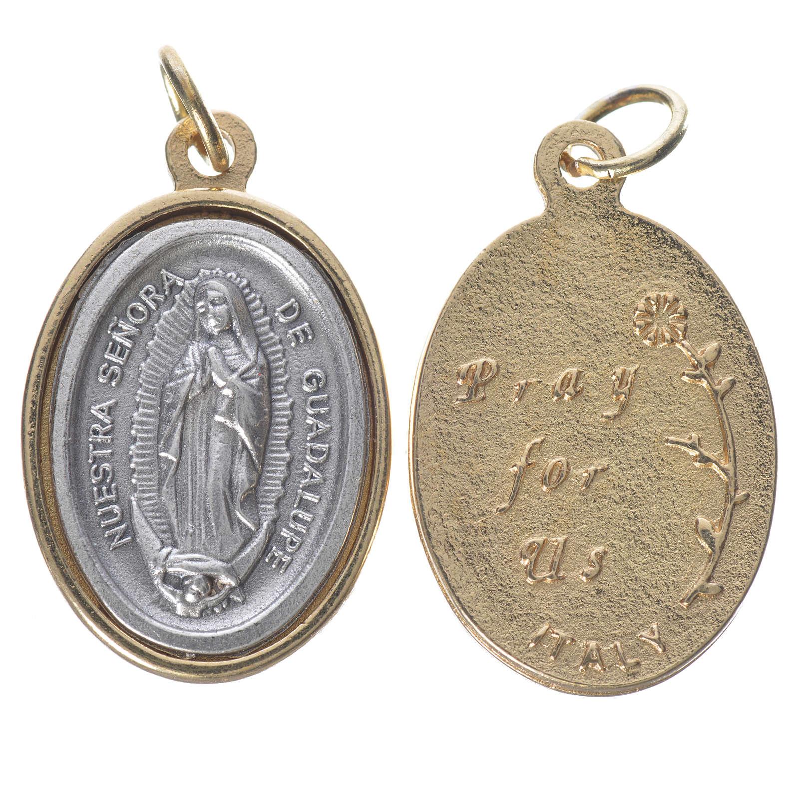 Medaglia Guadalupe metallo dorata argentata 2,5cm 4