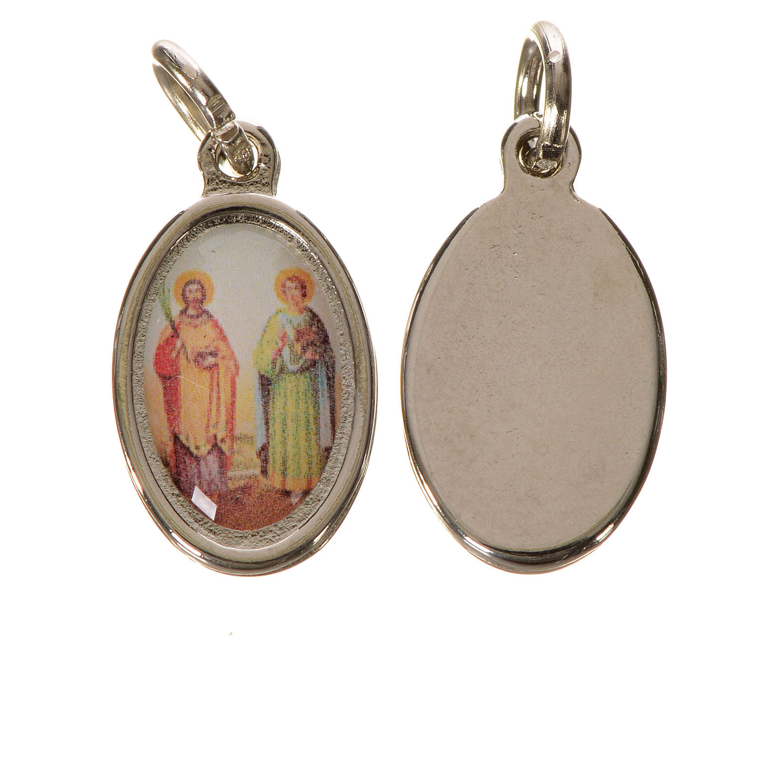 Saints Cosmas and Damian medal in silver metal, 1.5cm 4
