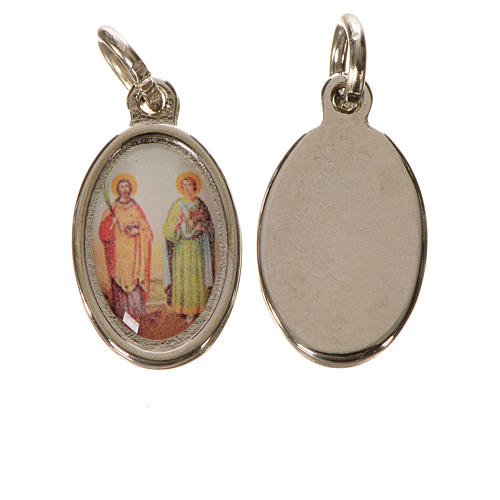 Saints Cosmas and Damian medal in silver metal, 1.5cm 2