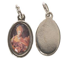Saint Charles Borromeo medal in silver metal, 1.5cm s1