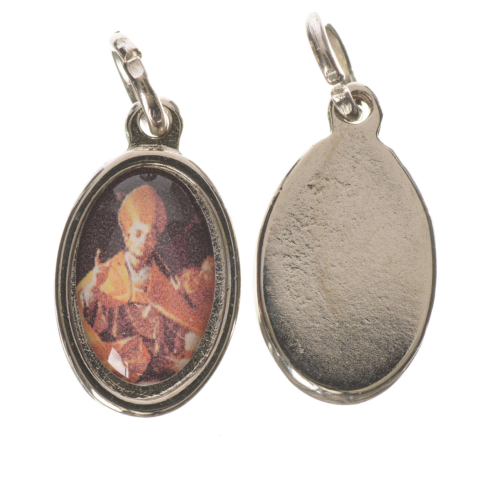 Medaglia  S. Carlo Borromeo metallo argentato 1,5cm 4