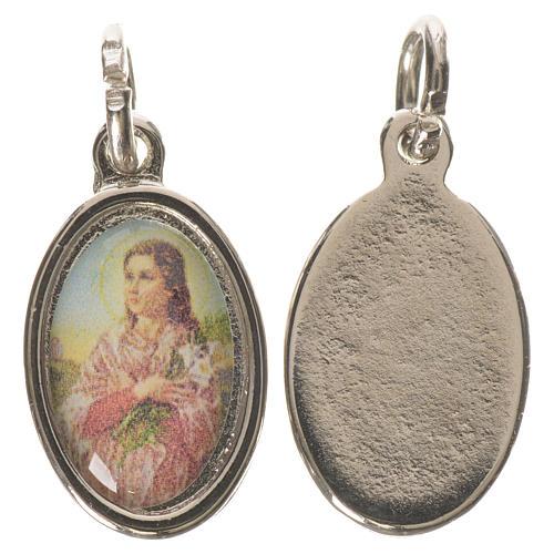 Saint Maria Goretti medal in silver metal, 1.5cm 1