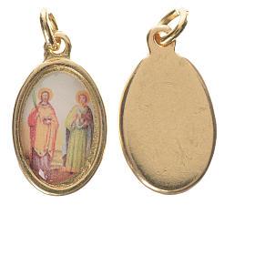 Saints Cosmas and Damian medal in golden metal, 1.5cm s1