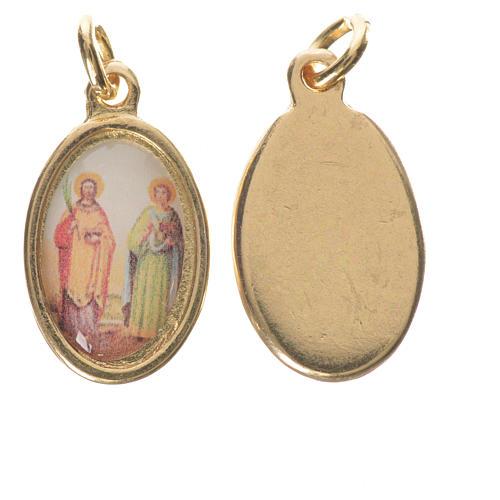 Saints Cosmas and Damian medal in golden metal, 1.5cm 1