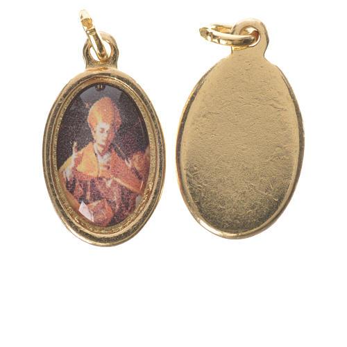 Medaglia  S. Carlo Borromeo metallo dorato altezza 1,5cm 1