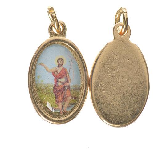 Saint John the Baptist medal in golden metal, 1.5cm 1
