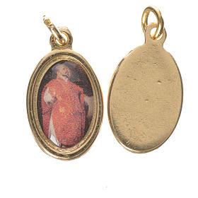 Saint Ignatius of Loyola medal in golden metal, 1.5cm s1