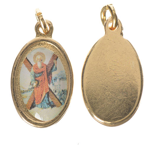 Saint Andrew medal in golden metal, 1.5cm 1