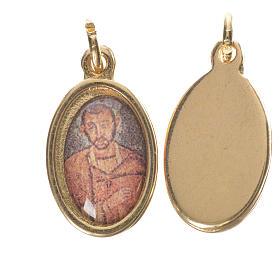 Saint Ambrose Medal in golden metal, 1.5cm s1