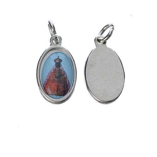 Black Virgin medal in silver metal, 1.5cm 1