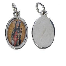 Notre Dame de Fenestre medal in silver metal, 1.5cm s1