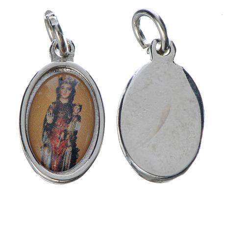 Notre Dame de Fenestre medal in silver metal, 1.5cm 1