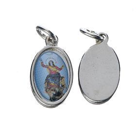 Notre Dame d'Utelle medal in silver metal, 1.5cm s1