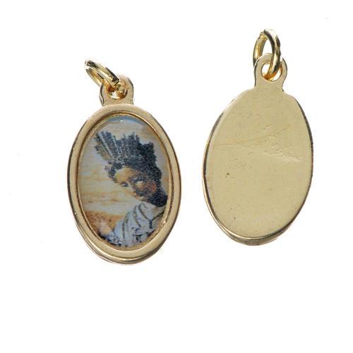 Notre Dame de la Salette medal in golden metal, 1.5cm 1