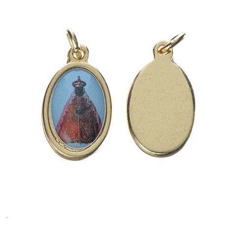 Medaglia Vergine Nera metallo dorato 1,5cm 1