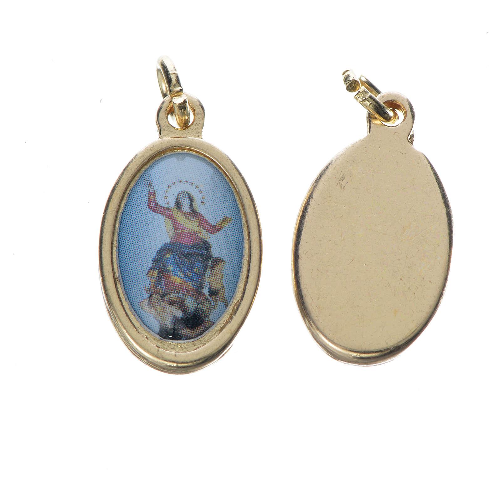 Notre Dame d'Utelle medal in golden metal, 1.5cm 4
