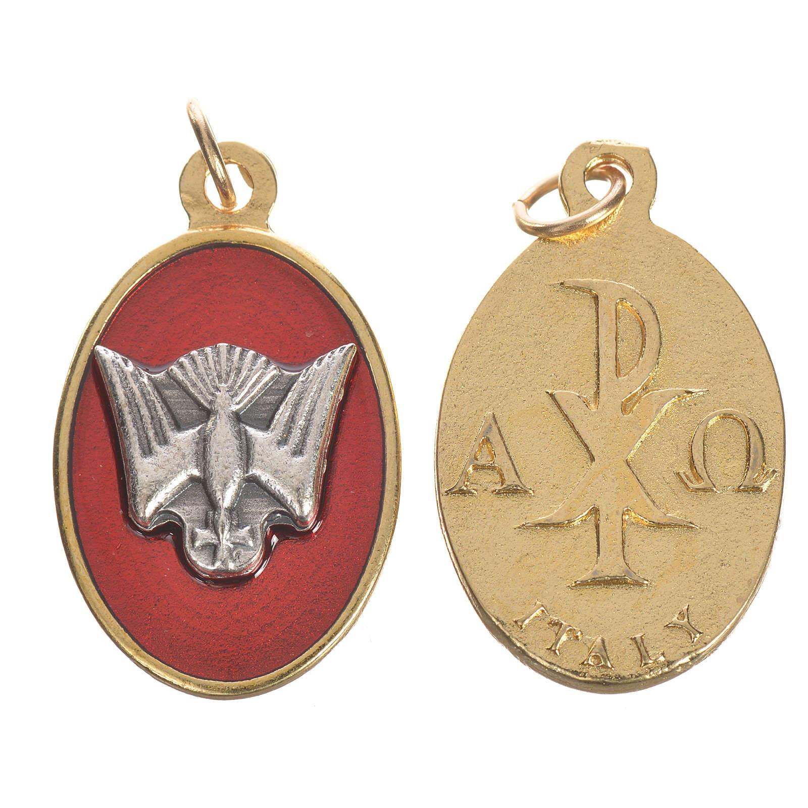 Médaille Saint Esprit métal émail rouge 2,2 4
