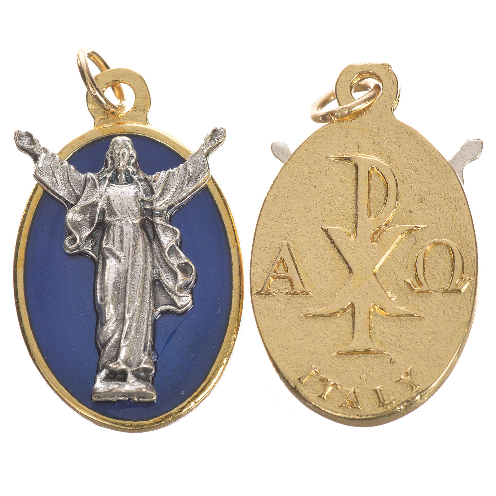 Medaglia Cristo Risorto smalto blu 2,2 cm 4