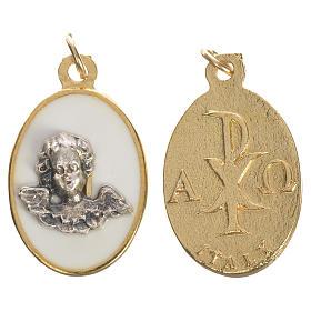 Medaglia Angelo in metallo smalto bianco 2,2 cm s1