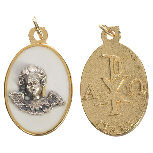 Medalik Anioł metal emalia biała 2,2cm 1