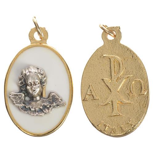 Angel medal in metal and white enamel, 2.2cm 1
