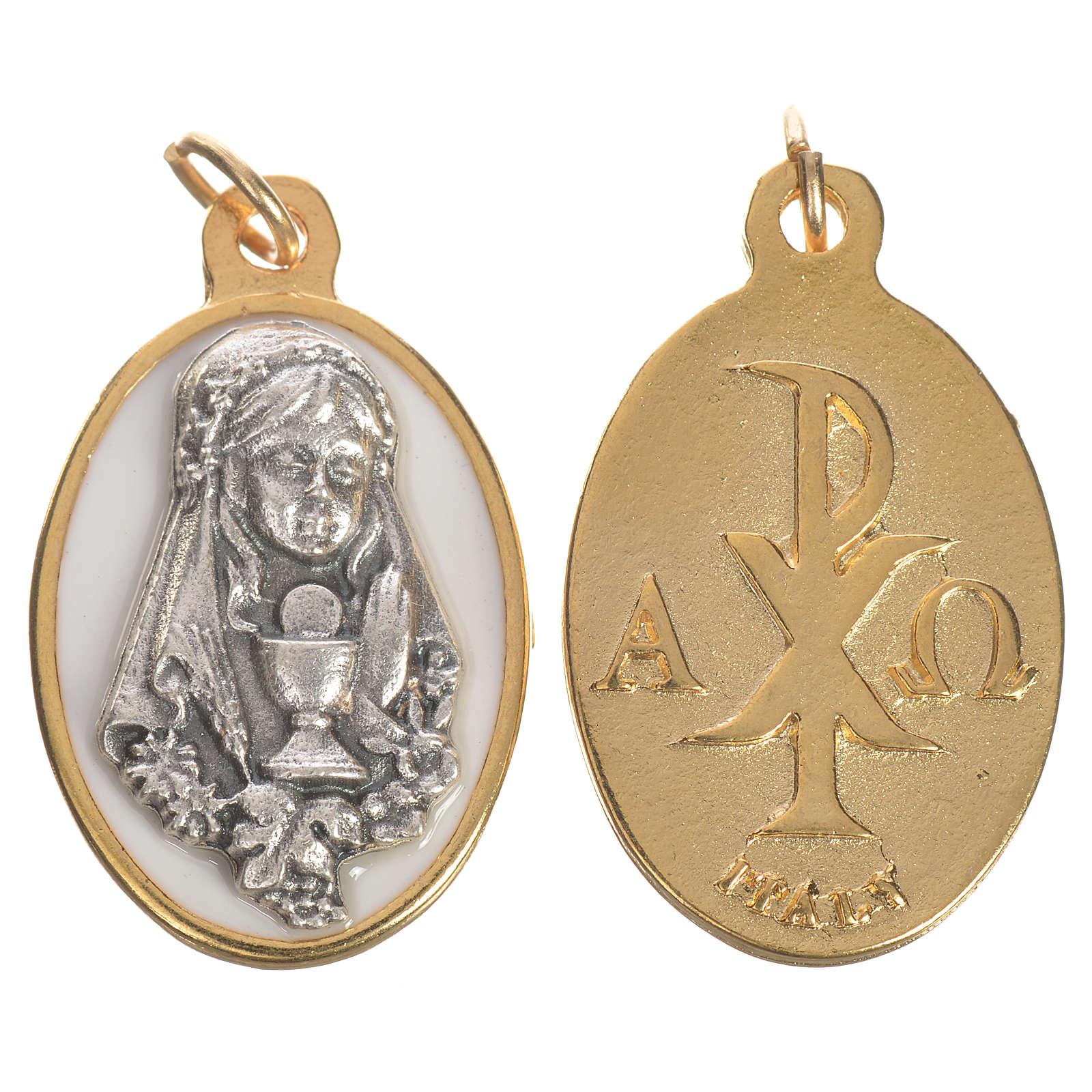 Medaglia Bimba comunione metallo smalto 2,2 cm 4