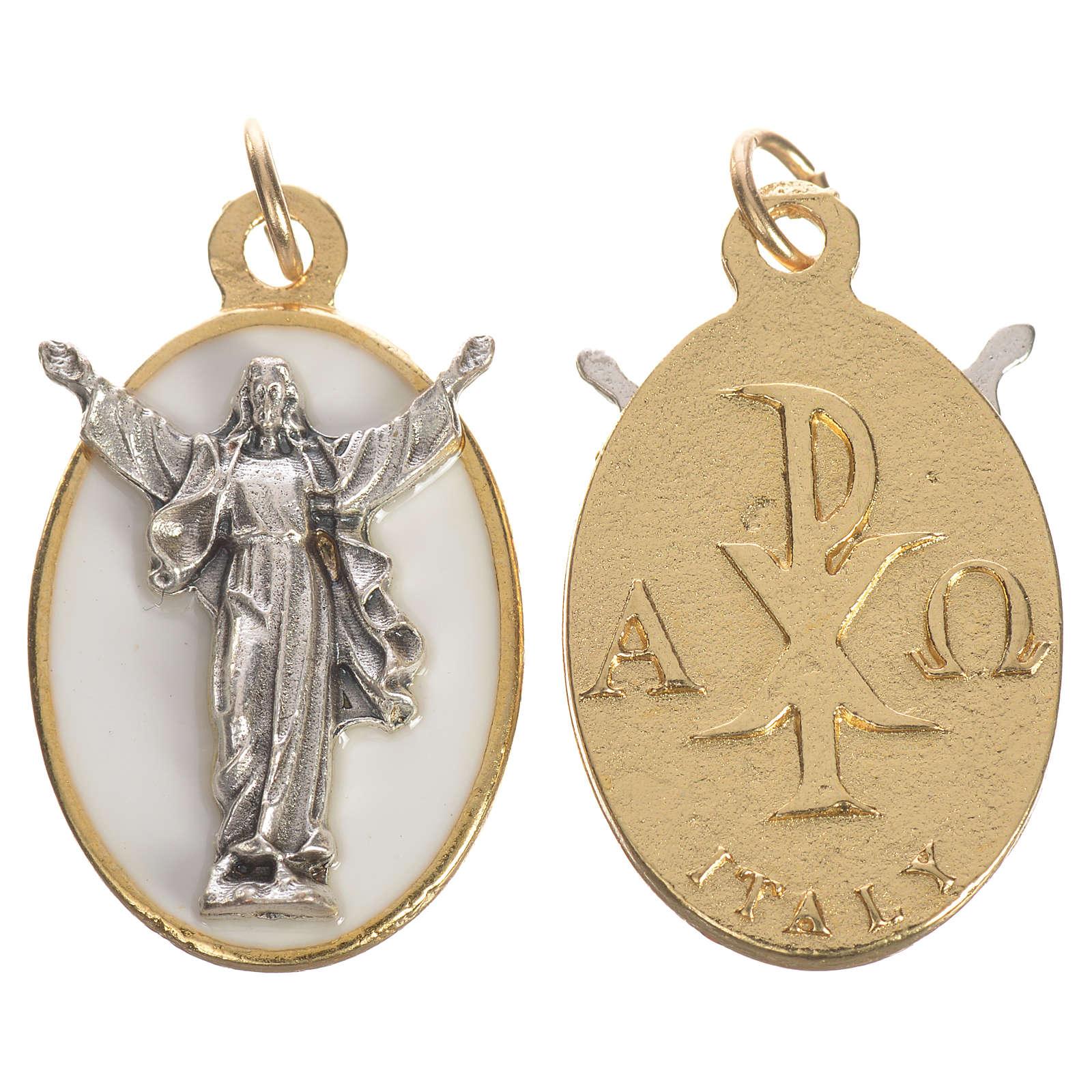 Medalla Cristo Resucitado metal esmalte blanco 2,2 cm 4