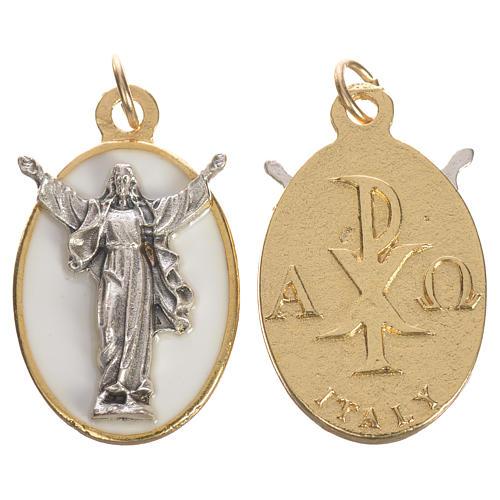 Medalla Cristo Resucitado metal esmalte blanco 2,2 cm 1