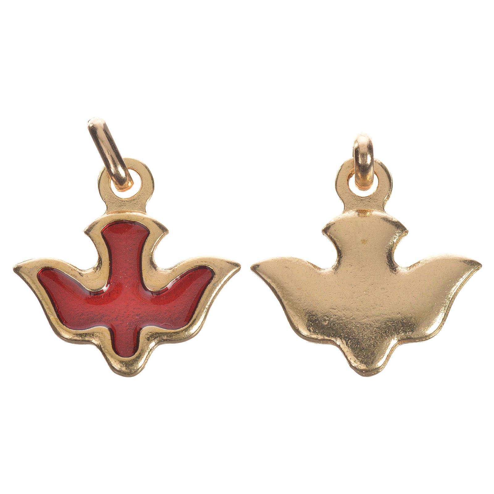 Medaglia colomba metallo smalto rosso 4