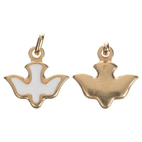 Médaille colombe émail blanc