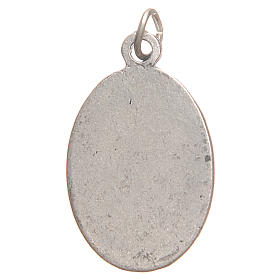 Saint Faustyna medal in galvanised zamak, antique silver 2.1cm s2