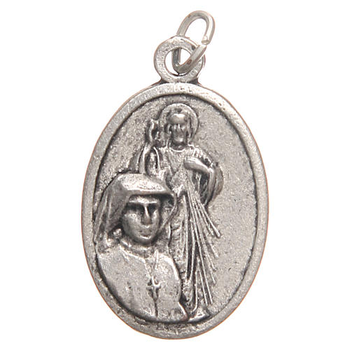 Saint Faustyna medal in galvanised zamak, antique silver 2.1cm 1