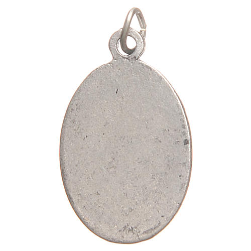 Saint Faustyna medal in galvanised zamak, antique silver 2.1cm 2