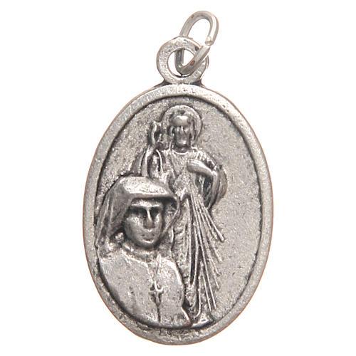 Médaille pendentif Sainte Faustine galvanisée argent vieilli 2,1 cm 1
