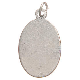 Saint Faustyna medal in galvanised zamak, antique red 2.1cm s2