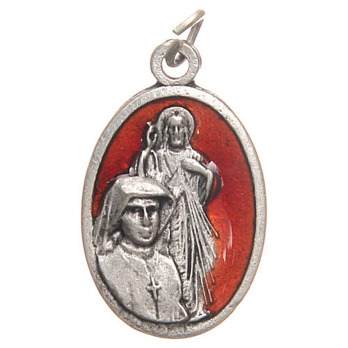 Saint Faustyna medal in galvanised zamak, antique red 2.1cm 1