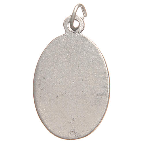 Saint Faustyna medal in galvanised zamak, antique red 2.1cm 2
