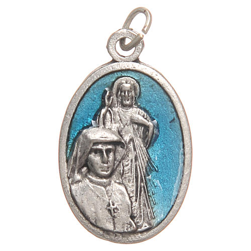 Médaille pendentif Sainte Faustine galvanisée argent vieilli bleu 2,1 cm 1