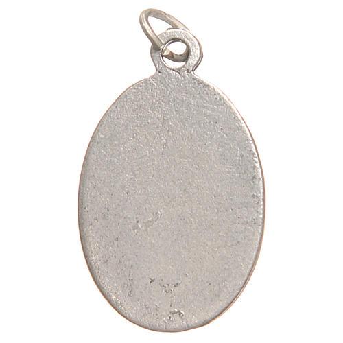 Médaille pendentif Sainte Faustine galvanisée argent vieilli bleu 2,1 cm 2